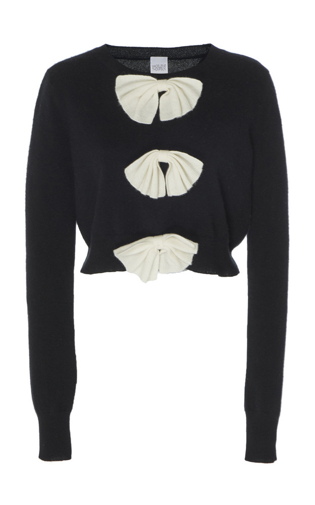 Madeleine Thompson Vulcan Bow-Accented Cashmere Sweater in black