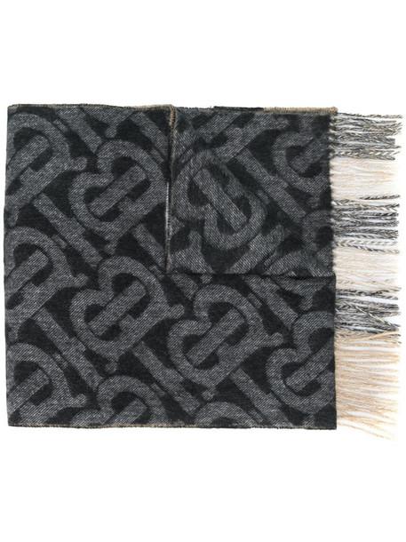 Burberry cashmere TB motif scarf in black