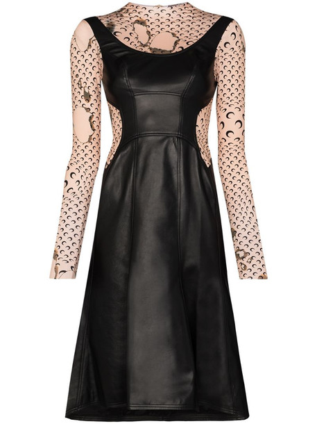 Marine Serre burnt print layered dress in black