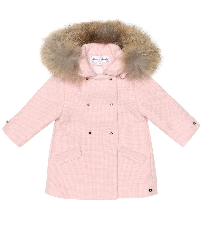Tartine et Chocolat Baby wool-blend coat in pink