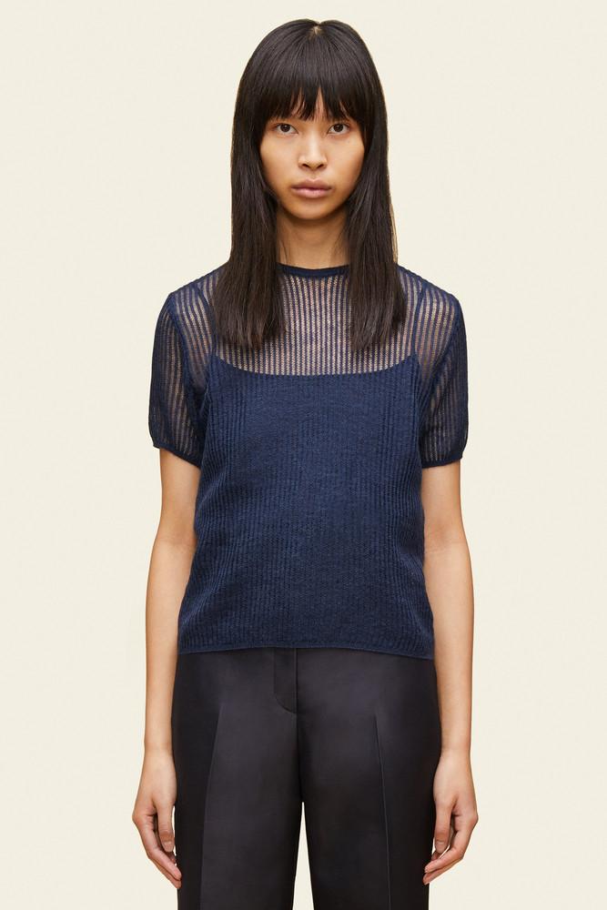 Mansur Gavriel Mohair Short Sleeve Sweater - Blu