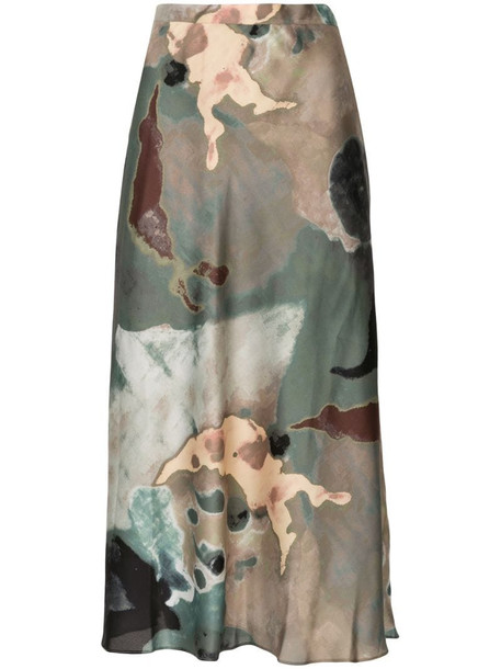Beaufille abstract print A-line skirt in green