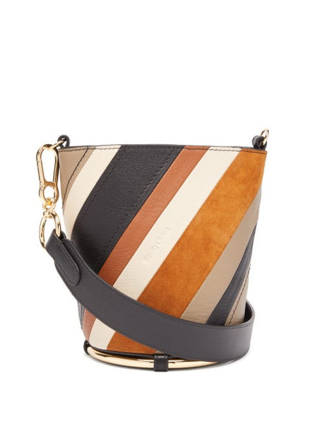 See By Chloé See By Chloé - Zelie Striped Leather Bucket Bag - Womens - Brown Multi