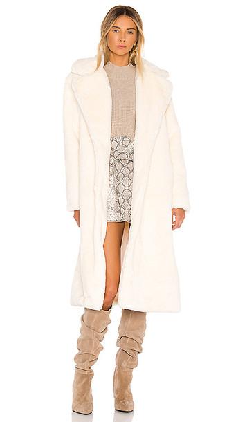 Apparis Mona Faux Fur Coat in White