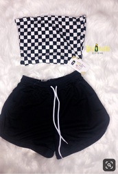 top,checkered,tube top,bandeau,booty shorts,booty,black and white,black,cute outfits,women,lingerie,cute,crop tops