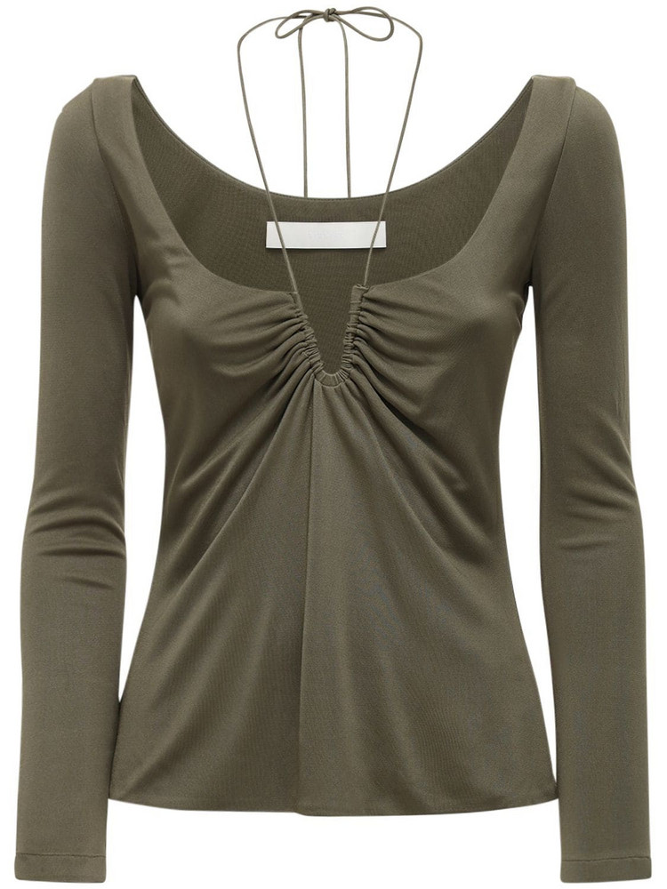DION LEE Viscose & Silk Wire Jersey Top in green