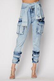 jeans,cargo pants,denim cargo,light blue denim cargo pants,vue boutique,waist tie,denim,tie dye,distressed high waisted jeans,distressed denim jeans,distressed denim,tie dye jeans