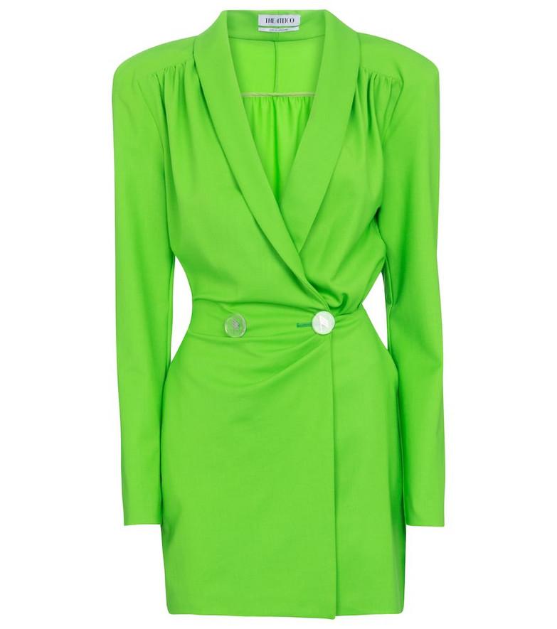 The Attico Wool-blend gabardine minidress in green