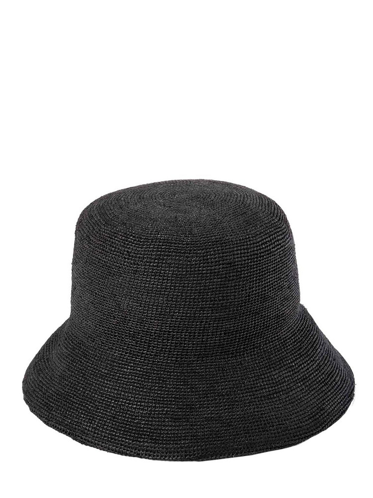 LACK OF COLOR The Inca Raffia Bucket Hat in black
