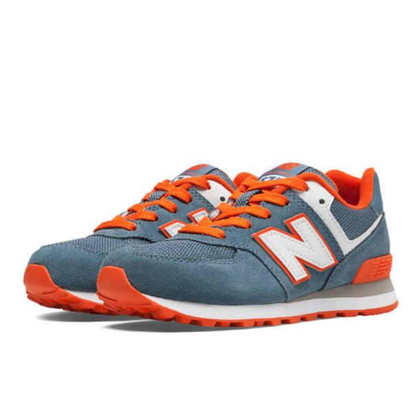 574 New Balance Kids' Pre-School Lifestyle Shoes - Chambray, Orange, White (KL574COP)