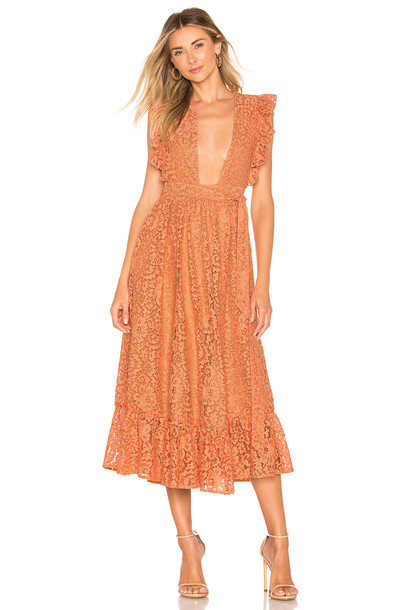 MAJORELLE Mistwood Dress in coral