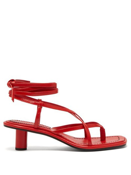 Proenza Schouler - Cylindrical Heel Wrap Around Leather Sandals - Womens - Red