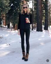 shoes,lace up boots,ankle boots,black leggings,black vest,black sweater