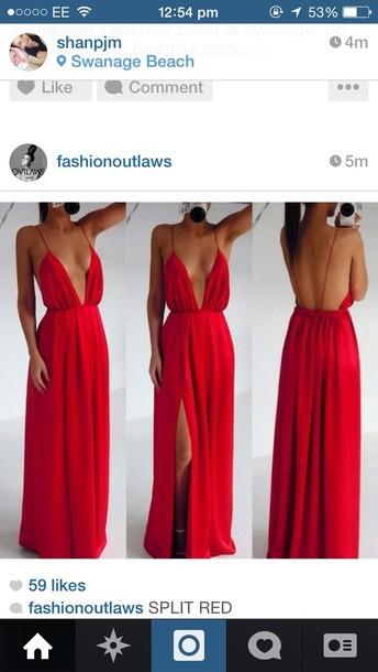 dress red dress maxi dress slit dress cut-out dress ebonylace.storenvy long dress cute dress red maxi dress gown red long drape