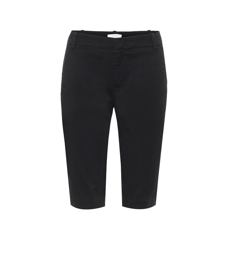 Vince Mid-rise cotton Bermuda shorts in black