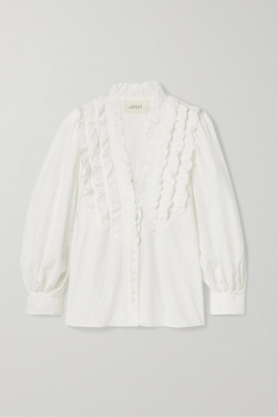 The Great - The Tuxedo Ruffled Grosgrain-trimmed Crinkled Cotton-voile Blouse - Ivory