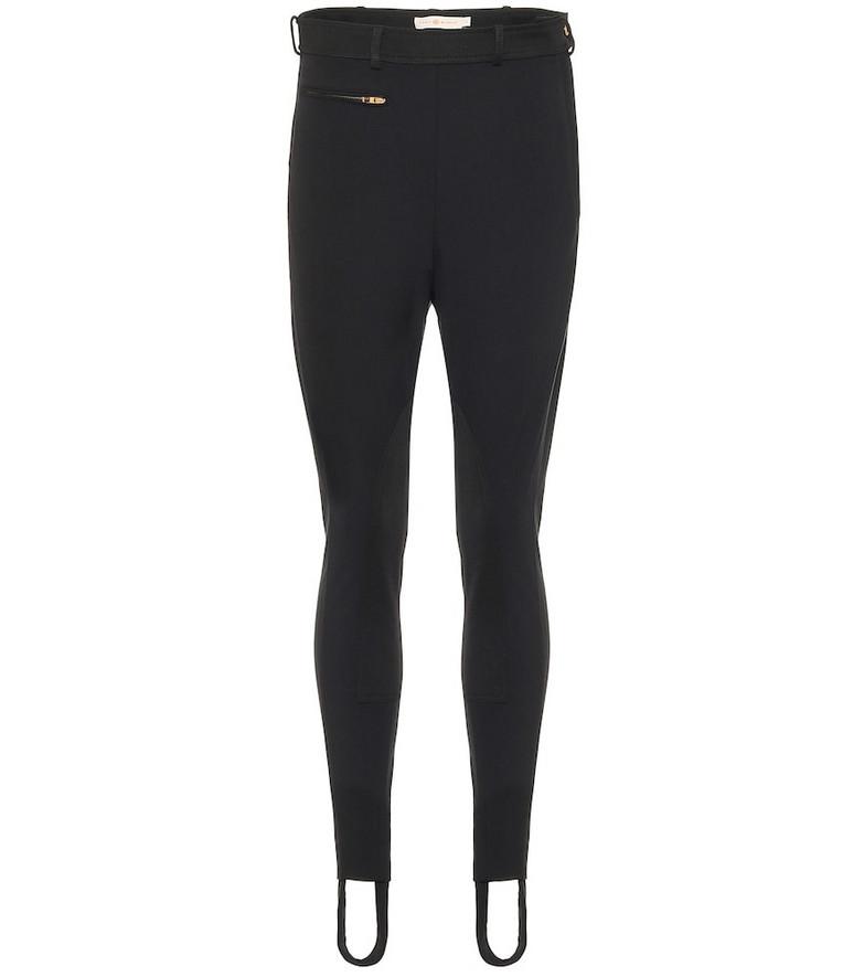 Tory Burch High-rise stretch-cotton pants in black