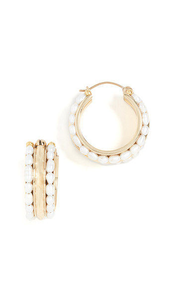 Ellery Berlot Classic Rice Pearl Hoop Earrings in gold / white