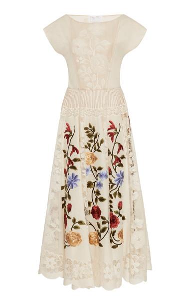 Oscar de la Renta Embroidered Lace Dress Size: 0 in white