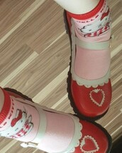 shoes,red mary janes,mary janes,kawaii shoes,alt shoes,red shoes,hello kitty socks,red mary janes with heart,mary janes with heart,kawaii,kawaii fashion shoes,mary jane shoes,red,pink,red pink,white,pink white,red white