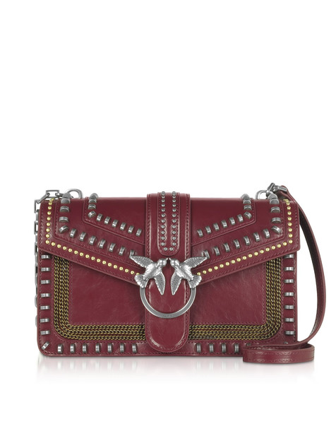 Pinko Burgundy Love Mix Shoulder Bag W/ Studs