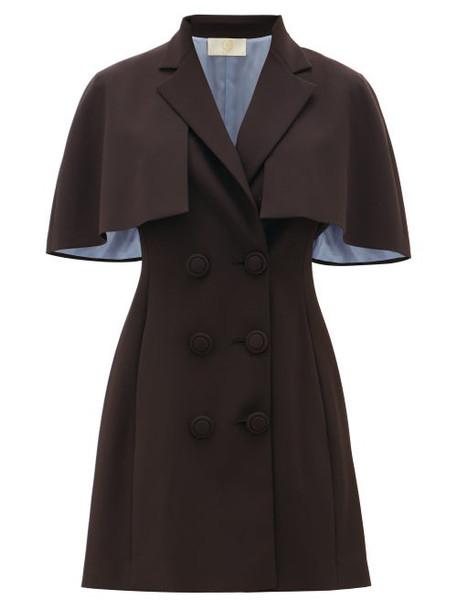Sara Battaglia - Cape-sleeve Crepe Blazer Dress - Womens - Black