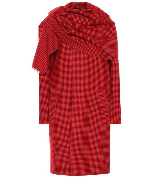 Balenciaga Virgin wool scarf coat in red