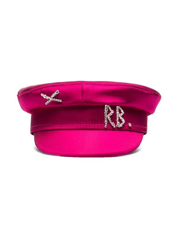 Ruslan Baginskiy crystal-embellished satin baker boy hat in pink