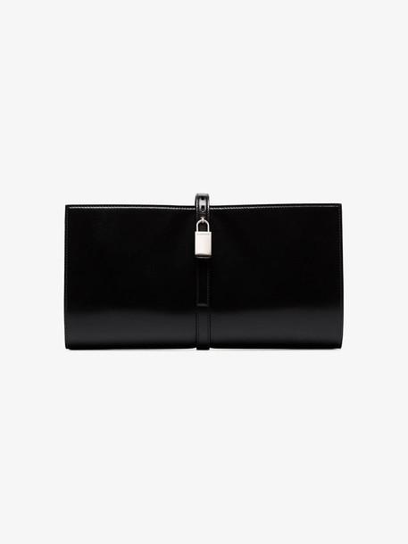 Jil Sander Black Padlock Leather Clutch
