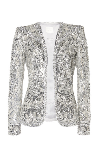 Zuhair Murad Sequin-Embroidered Jacket in silver