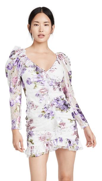 For Love & Lemons Wildflower Foil Lace Mini Dress in lavender