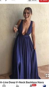 dress,pinterest,blue dress,deep v,satin,prom dress