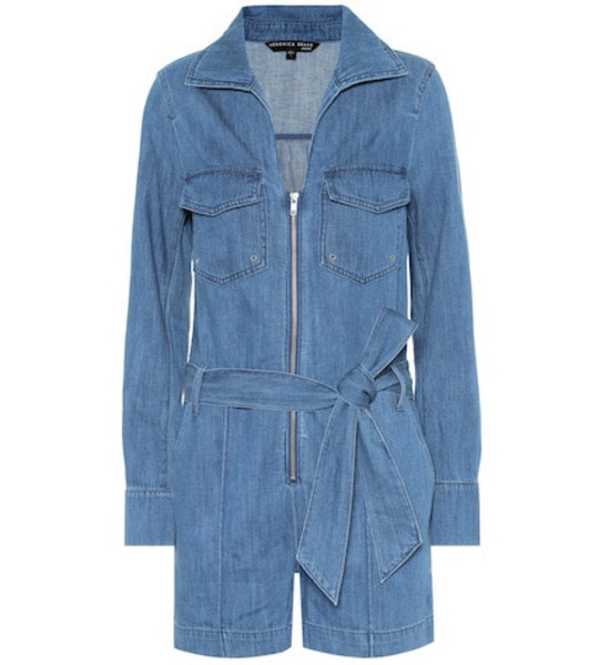 Veronica Beard Keenan cotton and linen playsuit in blue