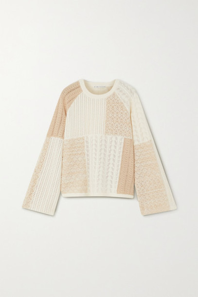 Alice + Olivia Alice Olivia - Martha Patchwork Pointelle-knit Wool-blend Sweater - Off-white