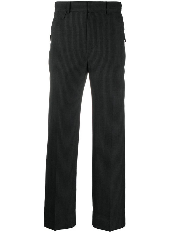 Ader Error asymmetric pocket striped trousers in black
