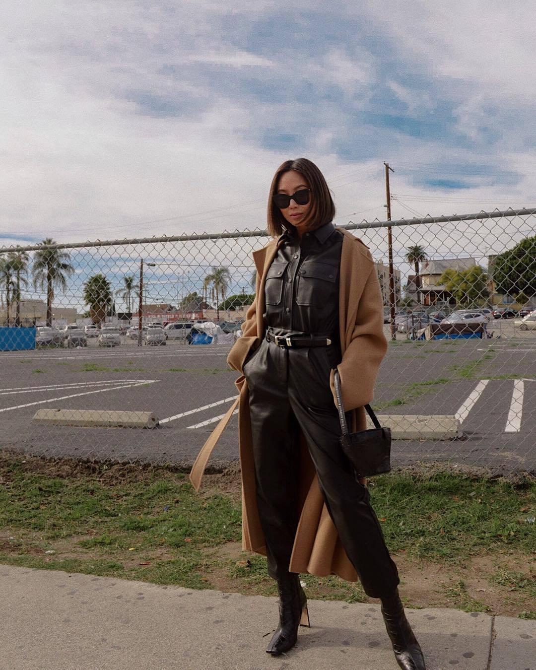 jumpsuit black jumpsuit long sleeves black boots black bag shoulder bag camel coat long coat
