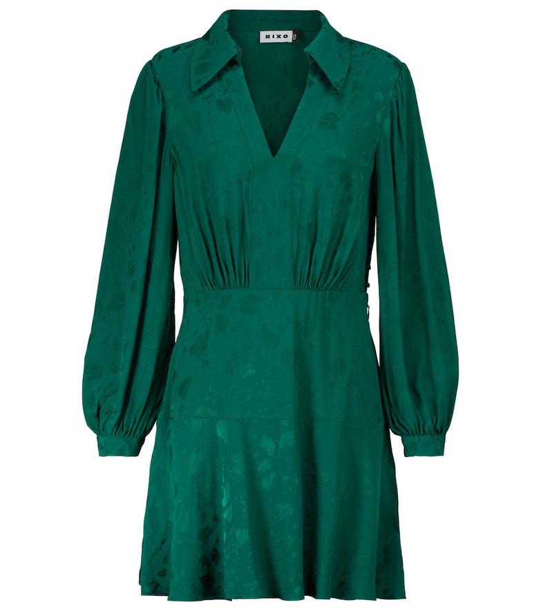RIXO Indy v-neck minidress in green