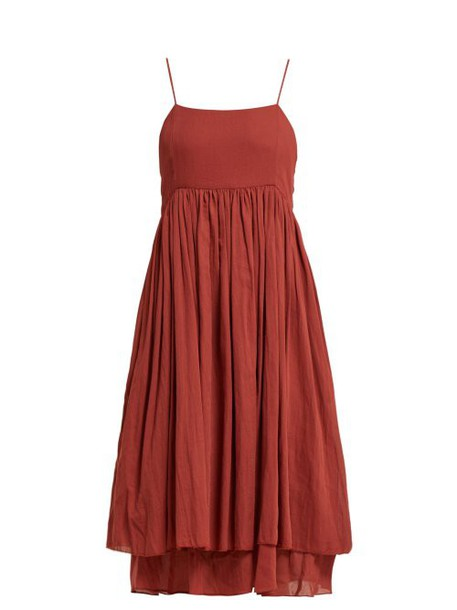 Loup Charmant - Lily Strap Cotton Midi Dress - Womens - Red
