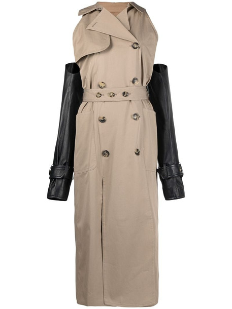 Rokh detachable-sleeve trench coat in neutrals