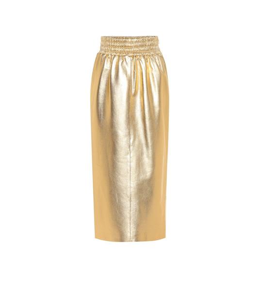 Miu Miu Metallic leather midi skirt in gold