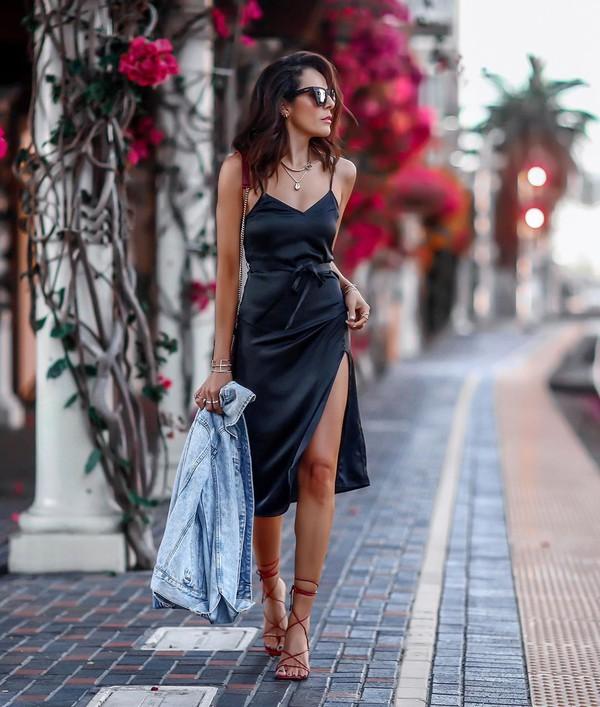 dress midi dress satin sleeveless dress denim jacket sandal heels