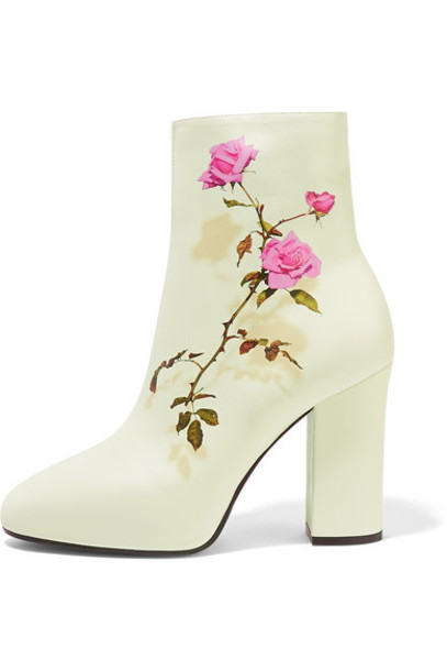Dries Van Noten - Floral-print Leather Ankle Boots - White