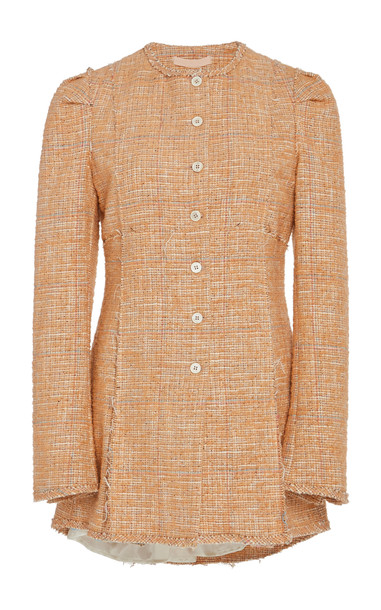 Brock Collection Paoli Puff Shoulder Tweed Jacket Size: 6 in brown