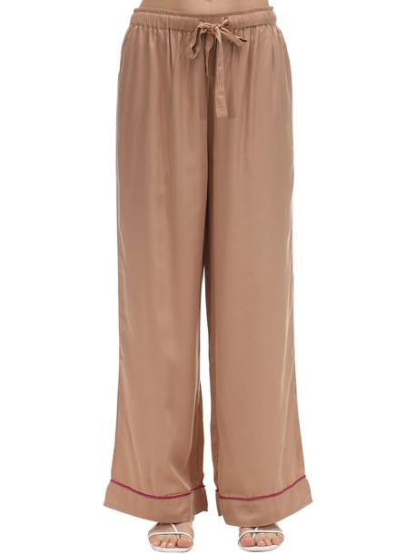 UNDERPROTECTION Lisa Satin Pajama Bottoms in beige