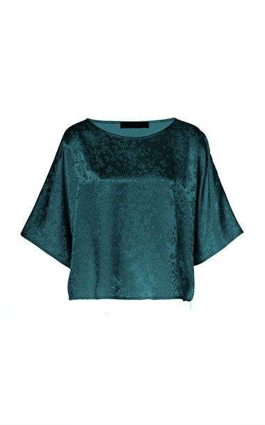 Sally LaPointe Floral Satin Dolman Tee in green