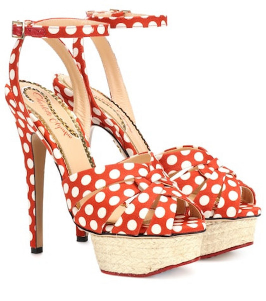 Charlotte Olympia Dolly polka-dot plateau sandals in red