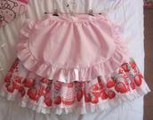 skirt,lolita,ruffle,tumblr,alternative,j fashion,japanese,japan,pink,kawaii sweet lolita,kawaii,strawberry,apron,japanese fashion,aesthetic