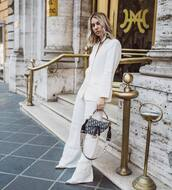 jacket,white blazer,zara,wide-leg pants,white pants,dior bag