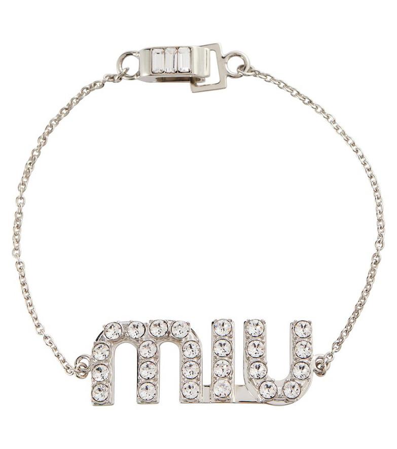 Miu Miu Crystal-embellished logo bracelet in silver