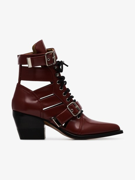 Chloé Chloé burgundy Reilly 60 buckle embellished ankle boots